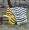 """""""Argo 4-05"""" geltonai ir pilkai dryžuotas grynavilnis pledas"""